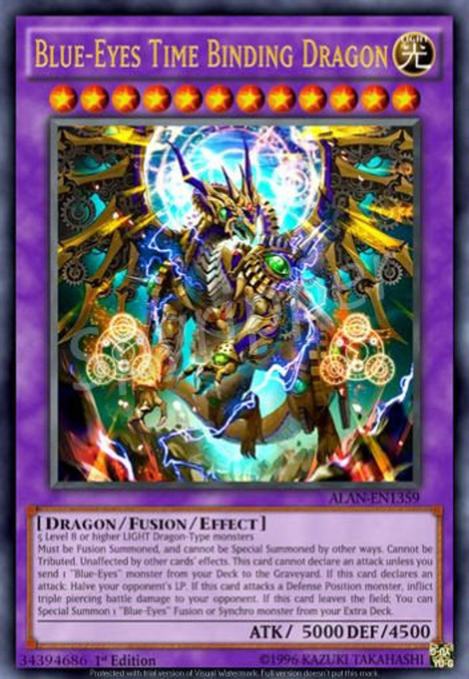 Blue eyes time binding dragon yugioh funmade custom proxy