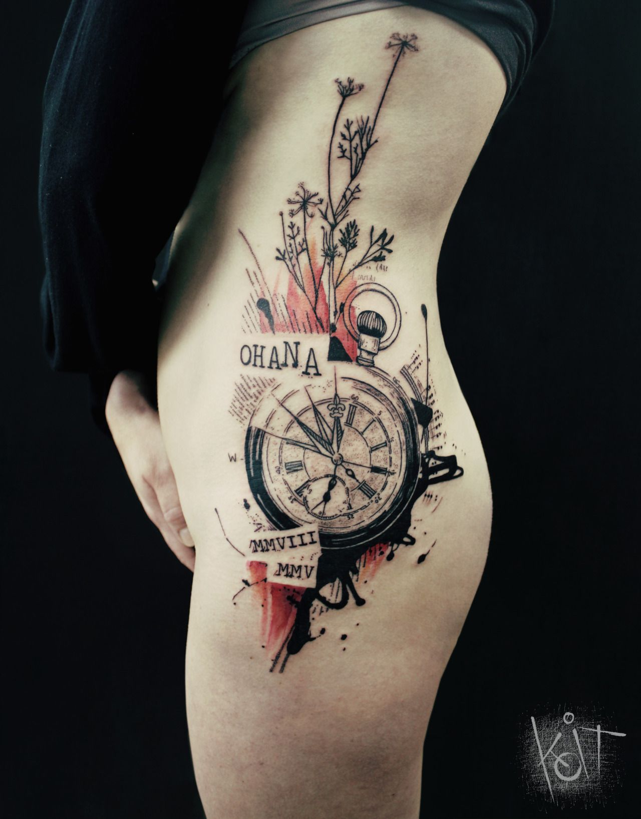 koit tattoo berlin graphic style compass in black red tattoo inspiration ideas germany. Black Bedroom Furniture Sets. Home Design Ideas