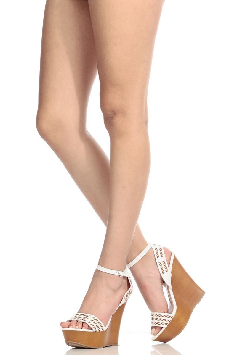 fbb39b041c68 White Faux Leather Ankle Strap Wooden Wedges   Cicihot Wedges Shoes Store Wedge  Shoes