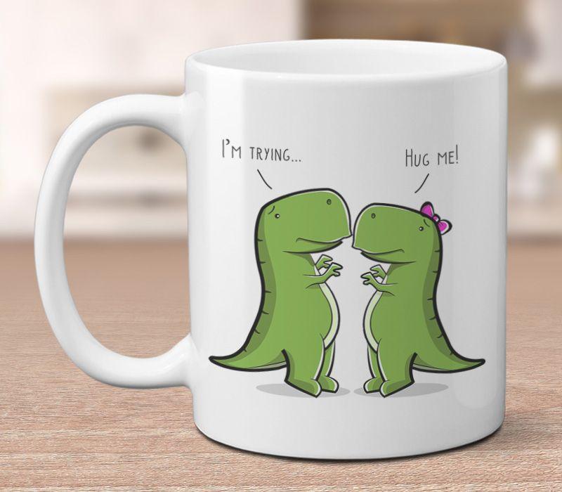 T-Rex Humorous Ceramic Green White Large Dinosaur Coffee Tea Mug Novelty Gift