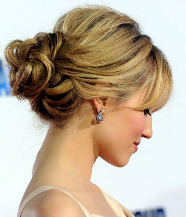 Updo Hairstyles Dianna Agron Loose Bun Updos Hairstyle Short Hair Updo Updos For Medium Length Hair Hair Styles