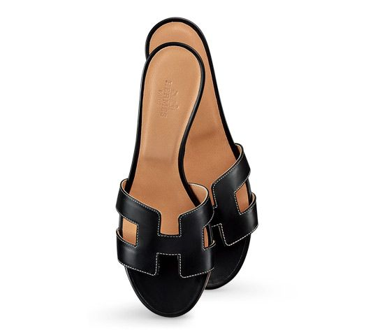 9f305e8f5f41 Oasis Leather Sandals Hermes ladies  sandal in black calfskin with ecru  stitching