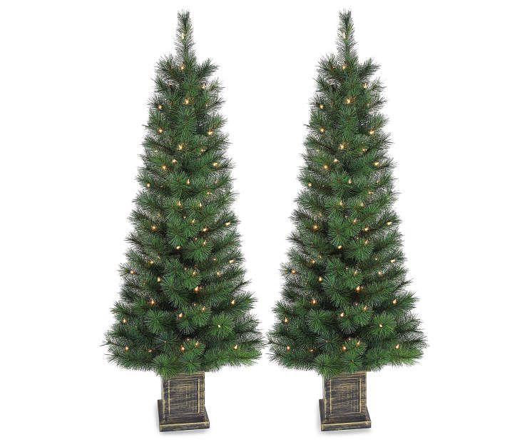 45 prancer pre lit hard needle artificial christmas urn trees 2 pack at big lots - Christmas Trees Big Lots