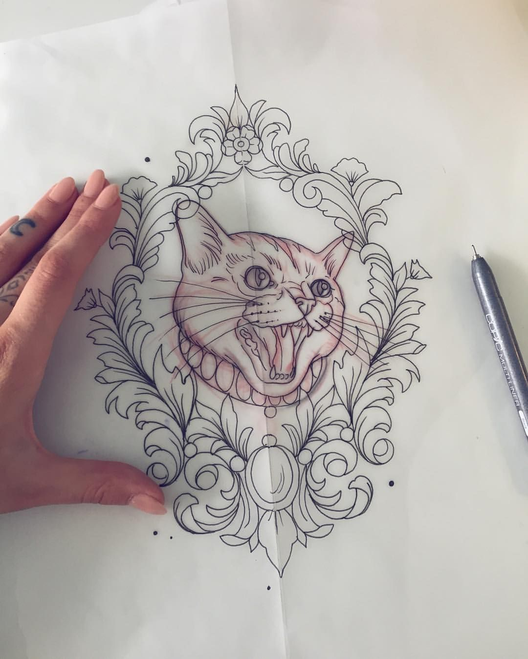 Heute Gibt Es Mal Eine Bose Katze Tattoo Sketch Drawing Tattoodesign Cat Neotraditional Illustration Tiny Cat Tattoo Tattoo Sketches Cat Face Drawing