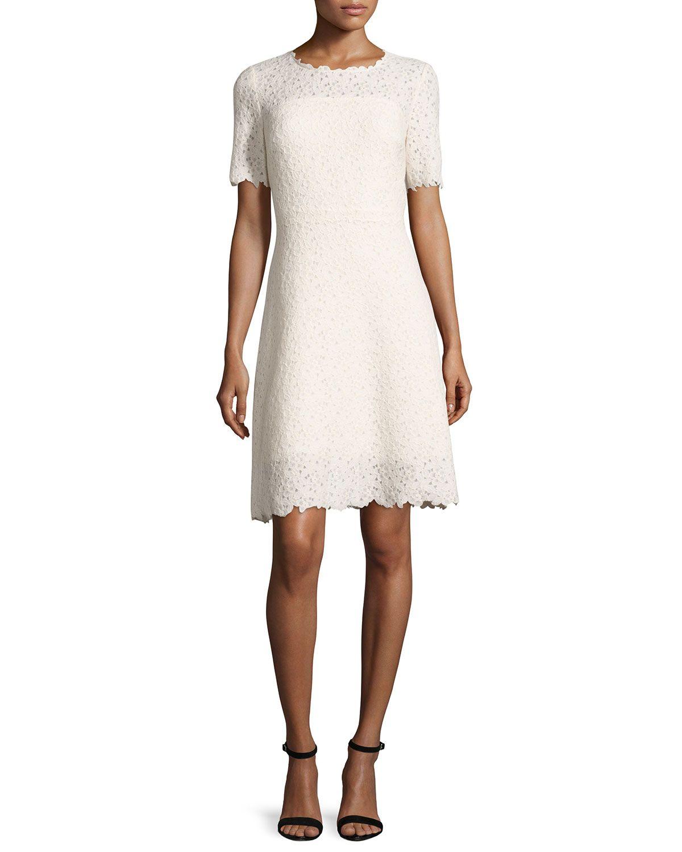 Elie Tahari Ophelia Half Sleeve Lace Dress Off White Cream Elietahari Cloth Lace Dress With Sleeves Lace Dress White Cocktail Dress [ 1500 x 1200 Pixel ]
