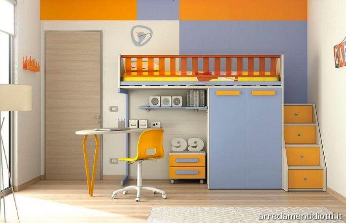 Cameretta nelle finiture betulla mandarino cristallo e arancio