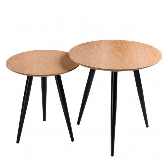 Beistelltisch Panao 2er Set Eiche Schwarz Beistelltisch Tisch Beistelltisch Holz