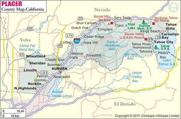 Placer County Map | Where I\'m from | Pinterest | California map ...