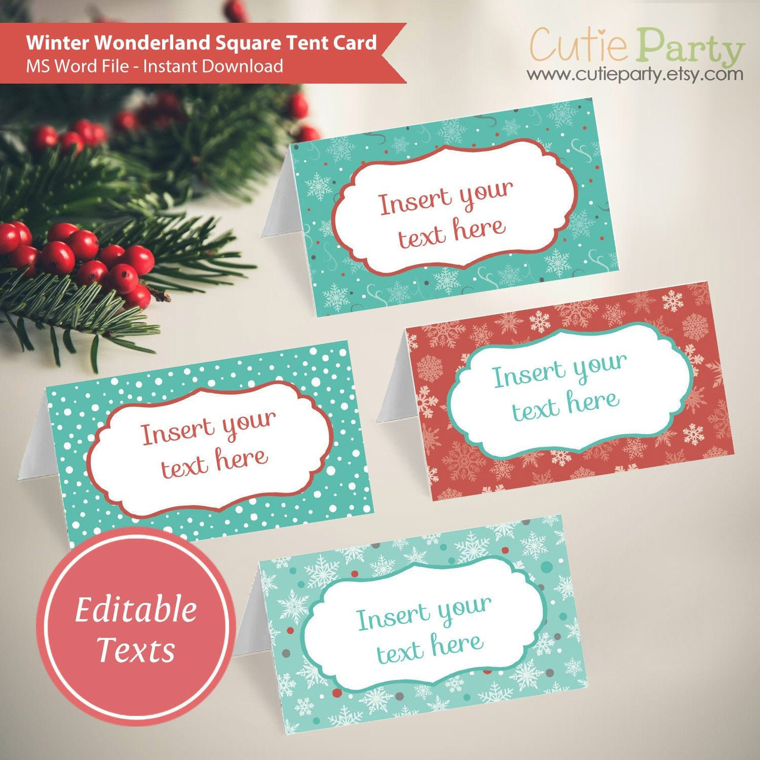 Winter Wonderland Tent Card Christmas Party Printable Winter Holiday Editable Tent Card Food Label Template Food Label Template Tent Cards Winter Wonderland