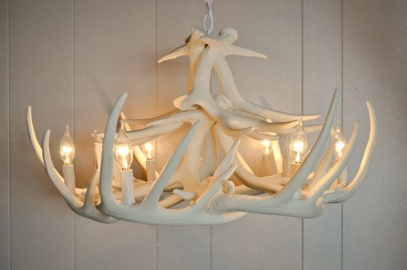 White Faux Antler Chandelier Antler Decorating W12 The Cheaper