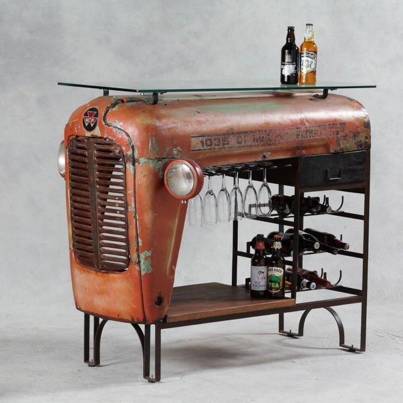 Tractor convertido en mueble bar para el hogar diy for Mobiliario de bar