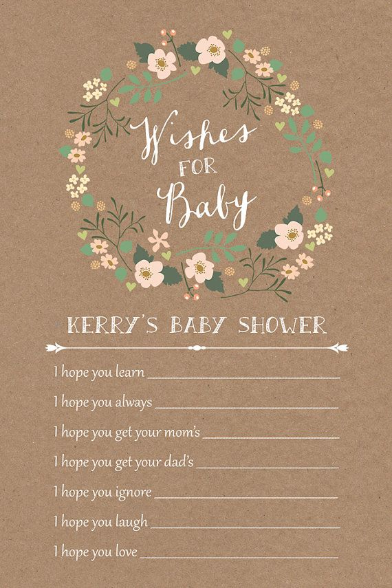 rustic baby shower wishes for baby card / shabby chic by paperhive