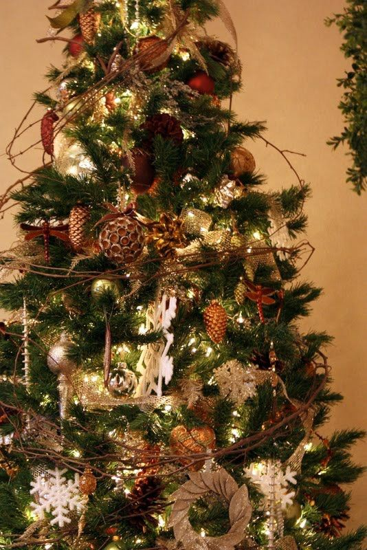 Rustic Christmas Ornaments Rustic Christmas Tree Decorating  - Country Decorated Christmas Trees