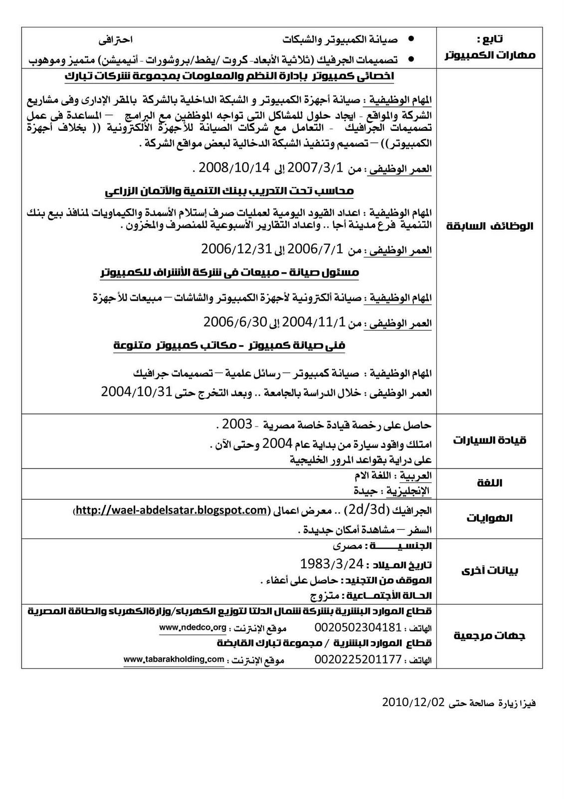 cv samples arabic english