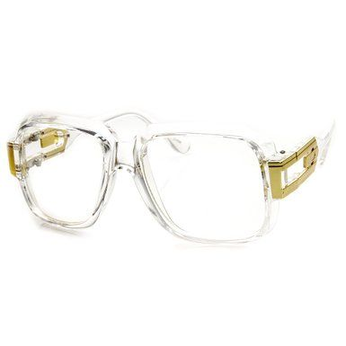large classic retro square frame run dmc clear lens glasses clear gold