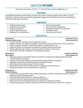 Salesperson  English Grammar    Resume Examples And
