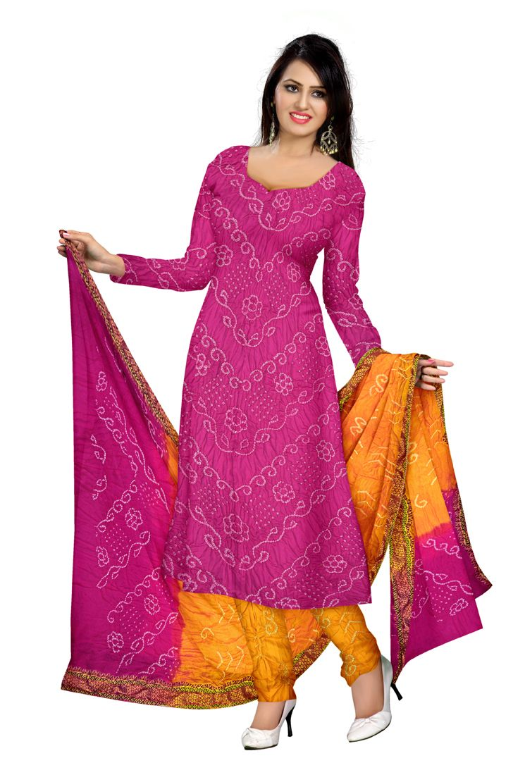 65c2f98027fc3 Kala Sanskruti Pink And Yellow Color Gaji Cotton Dress.