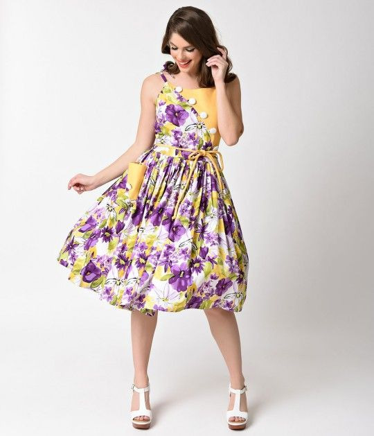 Unique Vintage 1950s Style Yellow Purple Floral Hamilton Swing Dress Item P52674be The First To Review This P Unique Vintage Dresses Dresses Clothes Design