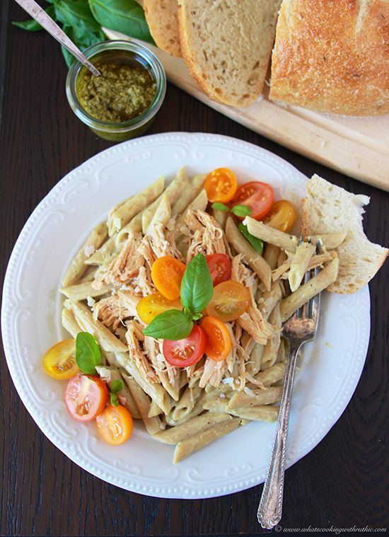 Bring Tuscany to your Table with @bertolli Pesto Alfredo Chicken Penne on www.cookingwithruthie.com #vivabertolli #sponsored