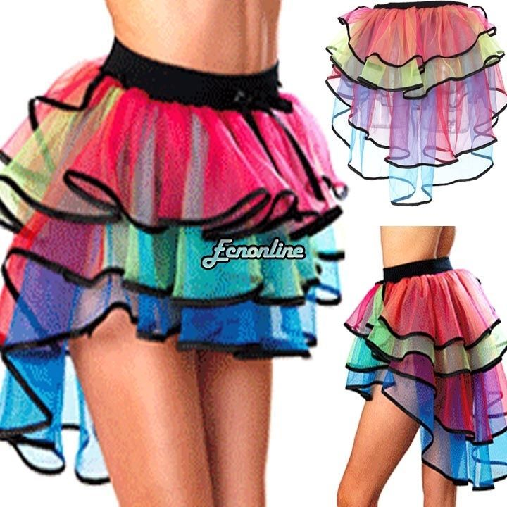 c70406221 Women Rainbow Neon RaRa Rave Party Dance Ruffle Tiered Tutu Skirt Clubwear  Hot #Unbrand #Mini