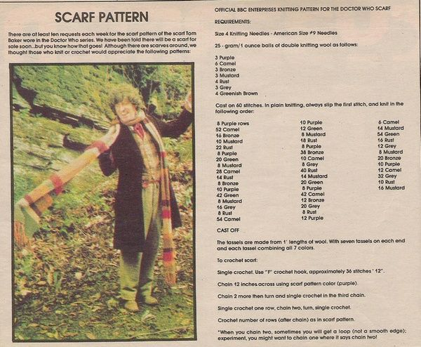 Official Bbc Pattern For The Fourth Doctors Scarf Instructions For