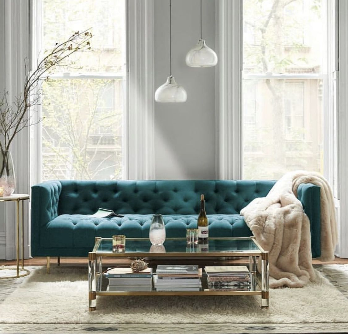 Teal Tufted Sofa Cozy Living Room Luxury Home Custom Home