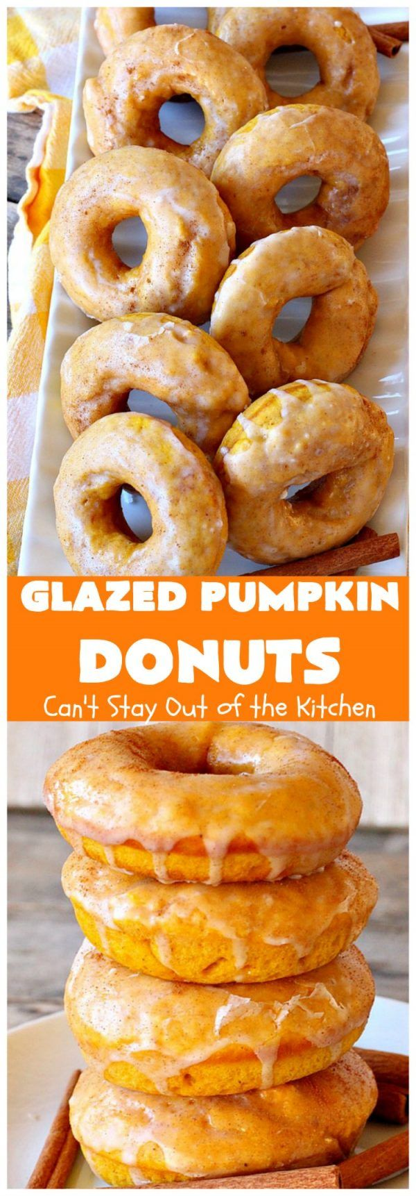 Glazed Pumpkin Donuts Glazed Pumpkin Donuts | Can't Stay Out of the Kitchen | These will knock your socks off! They're filled with & pumpkin pie spice. Then they're glazed with vanilla icing & sprinkled with Terrific for & winter & company.