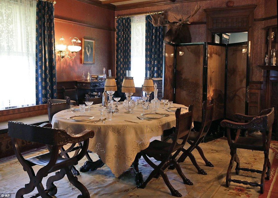 Theodore Roosevelt's formal dining room at the 28-room mansion in Oyster Bay has undergone an extensive four-year, $10 million renovation by the National Park Service