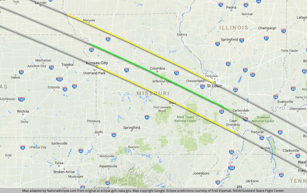 Total Solar Eclipse August 21 2017 Missouri Map well be