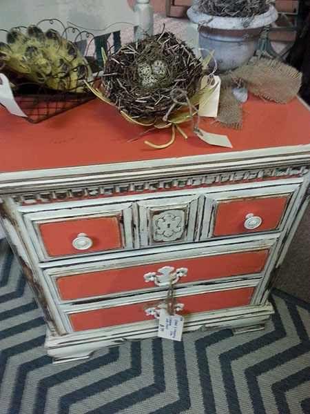 Caribbean Coral and Creamy Linen Farmhouse Paint chest.