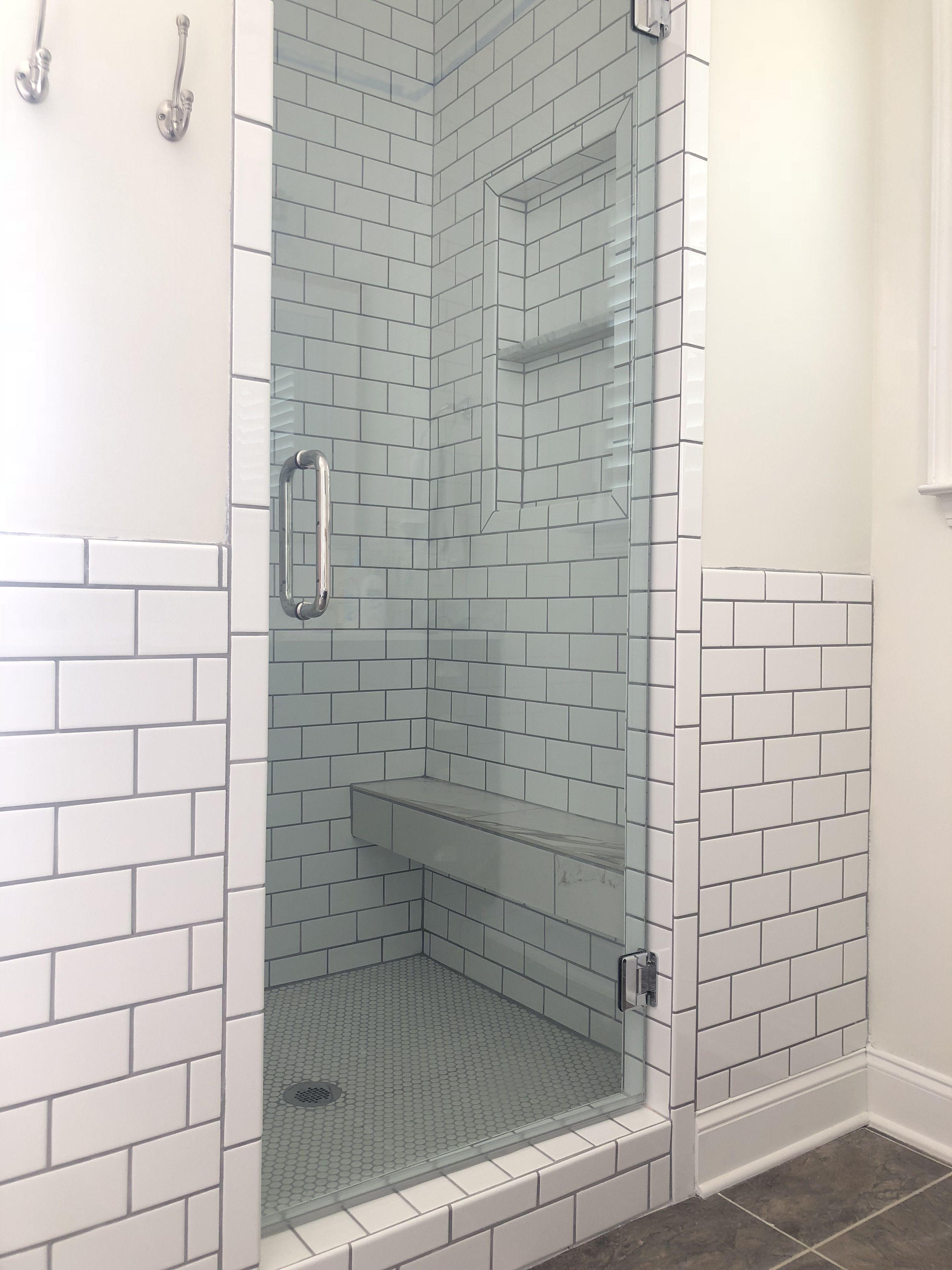 Subway Tile Shower Floating Shower Bench Shampoo Bar Our Next