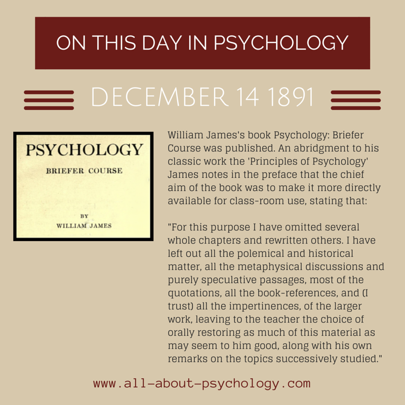14th December 1891 An Abridgment To His Classic Work The Principles Of Psychology William James S Book Ps Psychology Psychology Student Psychology Courses