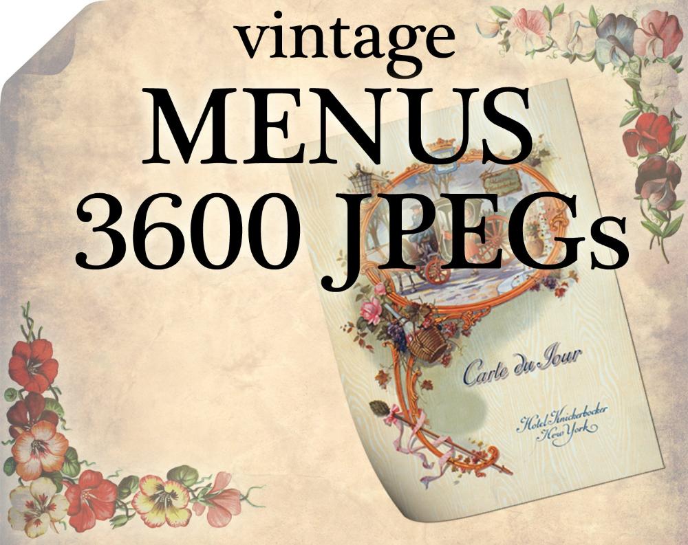 3600 Vintage Menu Jpegs Images Pack From Artscult Com With Etsy Vintage Menu Vintage Altered Art