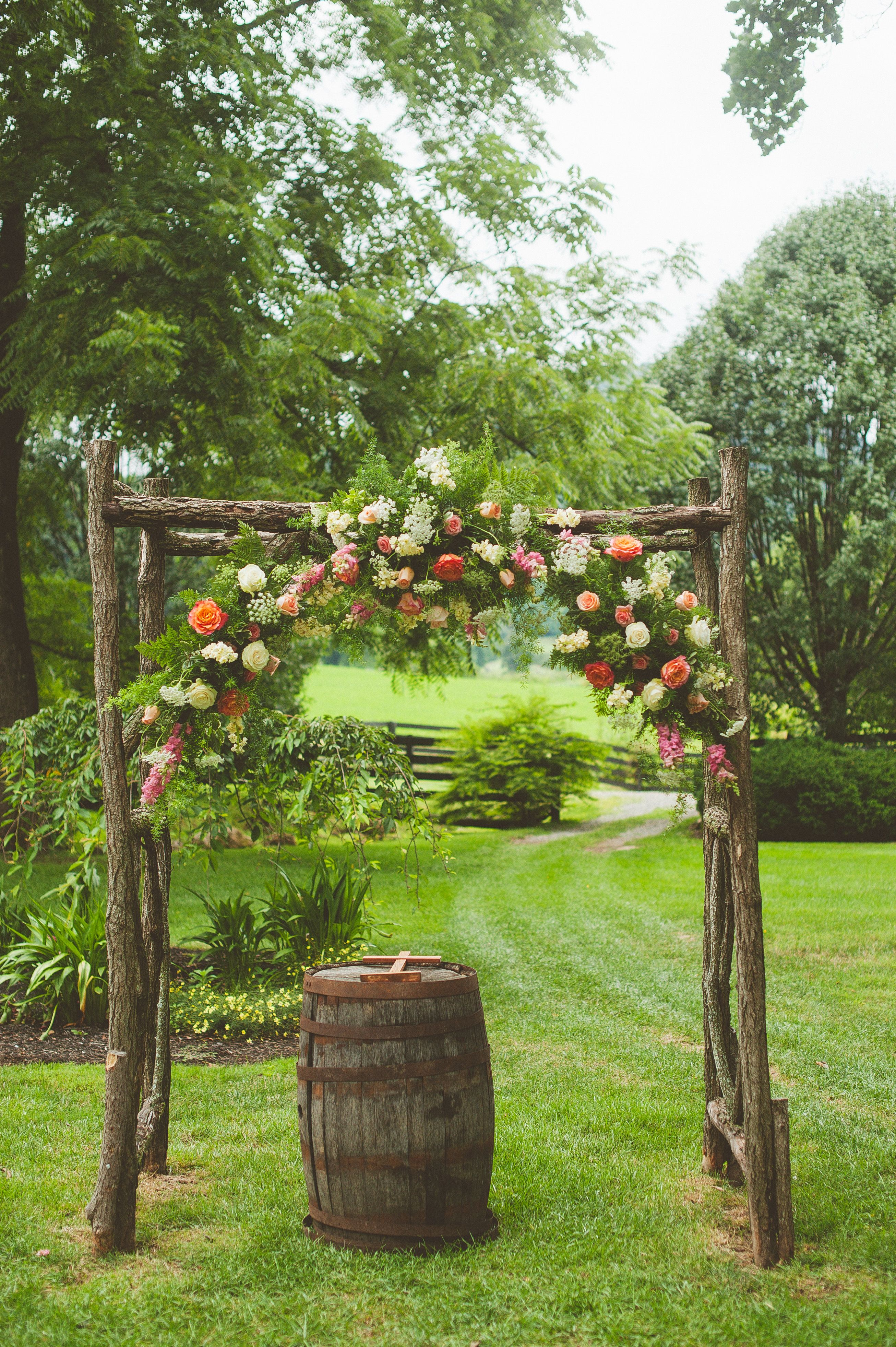 Wooden Wedding Arch With Coral Flowers Diy Wedding Arch Wooden Wedding Arches Branch Arch Wedding