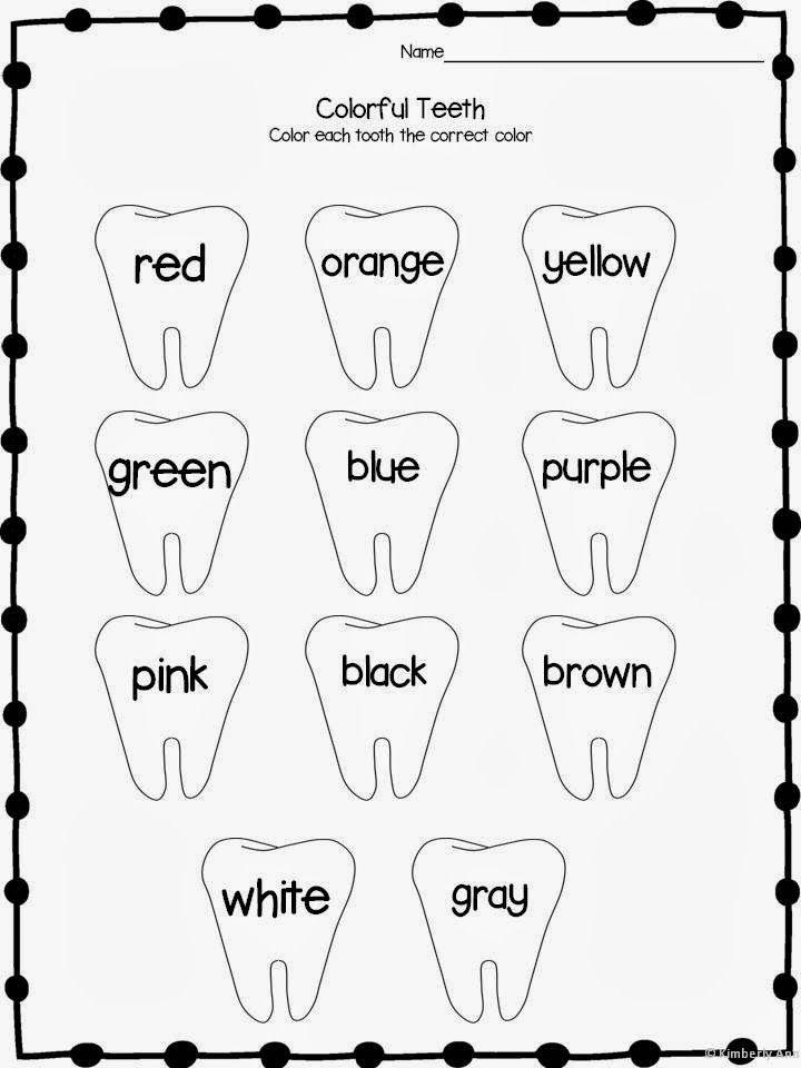 Color Words Dental Health February Themes