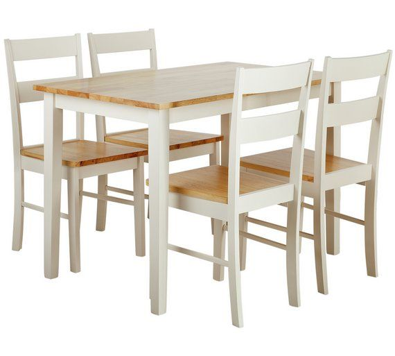 Buy Argos Home Chicago Solid Wood Table & 4 Two Tone