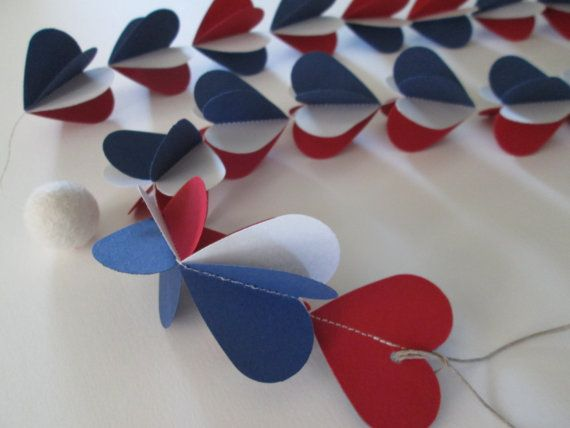 Hooray for the Red White & Blue Paper Hearts Garland by futtatinni, $10.00