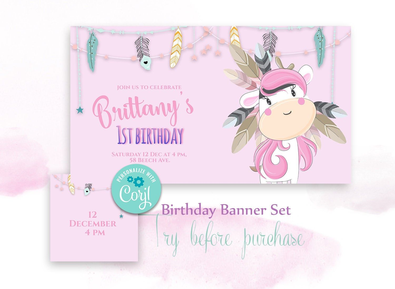 Editable Facebook Event Cover And Profile Image Birthday Invitation Banner Set Baby Girl Electronic Invite With Cute Deer With Images Invitation Banner Electronic Invitations Birthday Invitations