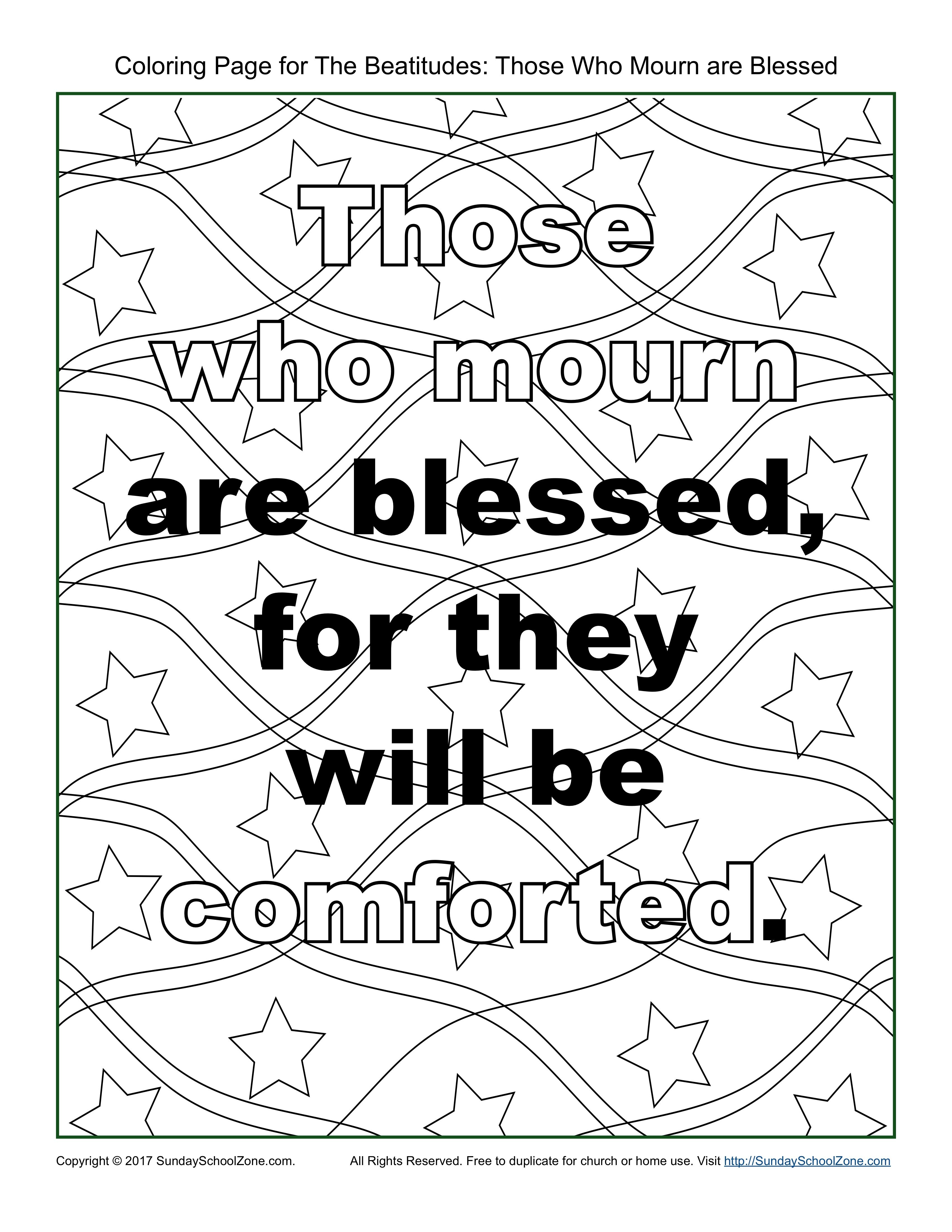 Those Who Mourn Beatitudes Coloring Page On Sunday School Zone Sunday School Coloring Sheets Beatitudes Heart Coloring Pages [ 4400 x 3400 Pixel ]