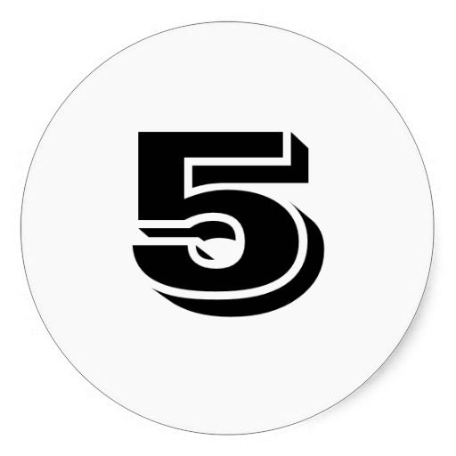 Five large round white number stickers by janz