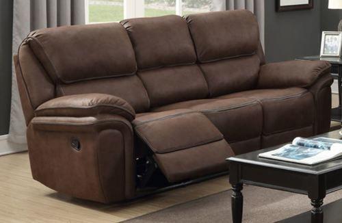 Generation Trade Chocolate Lariat Reclining Sofa with Memory Foam Seating 660830