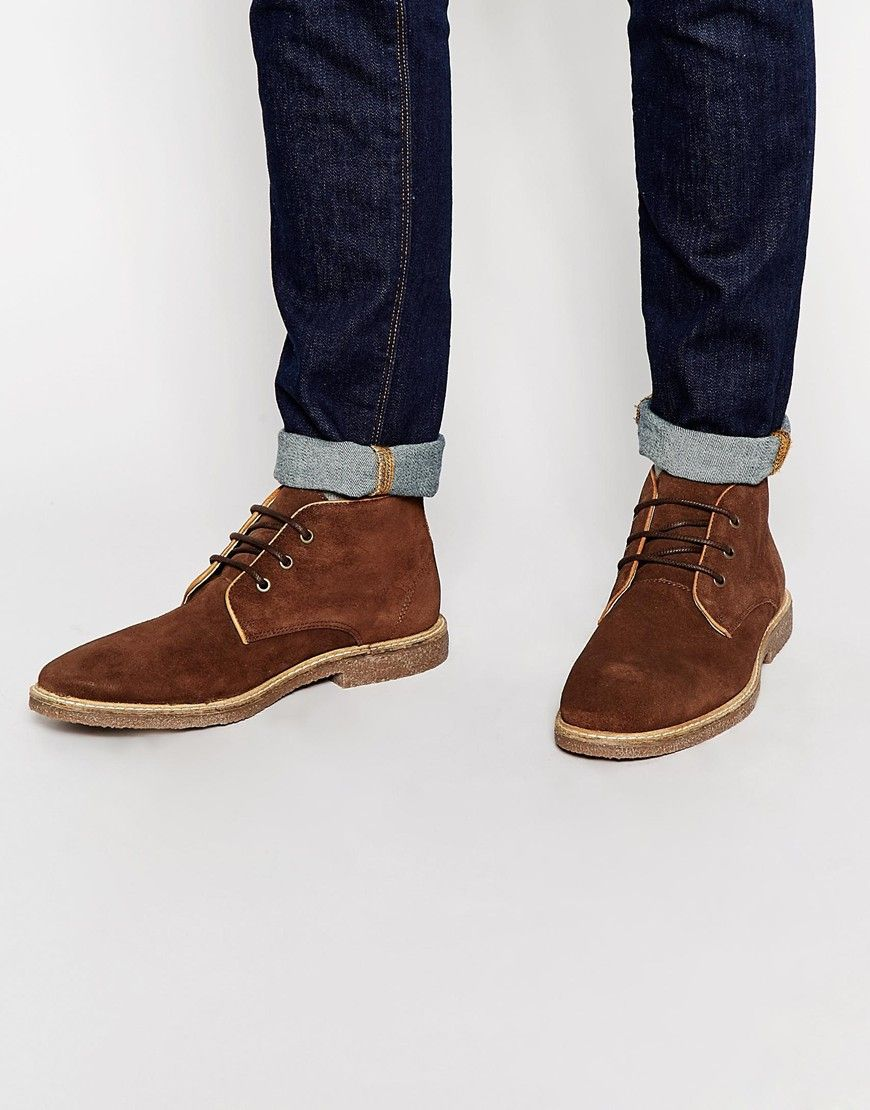 ASOS Desert Boots in Brown Suede With Leather Details