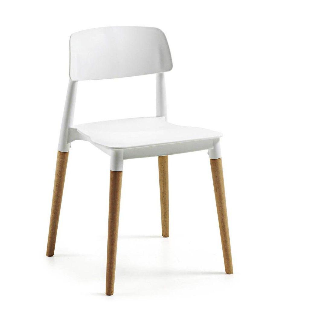 Silla con patas de madera de haya y asiento en color - Sillas para salones ...