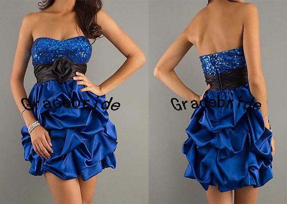 royal blue satin dresses short prom dresses by Gracebride on Etsy