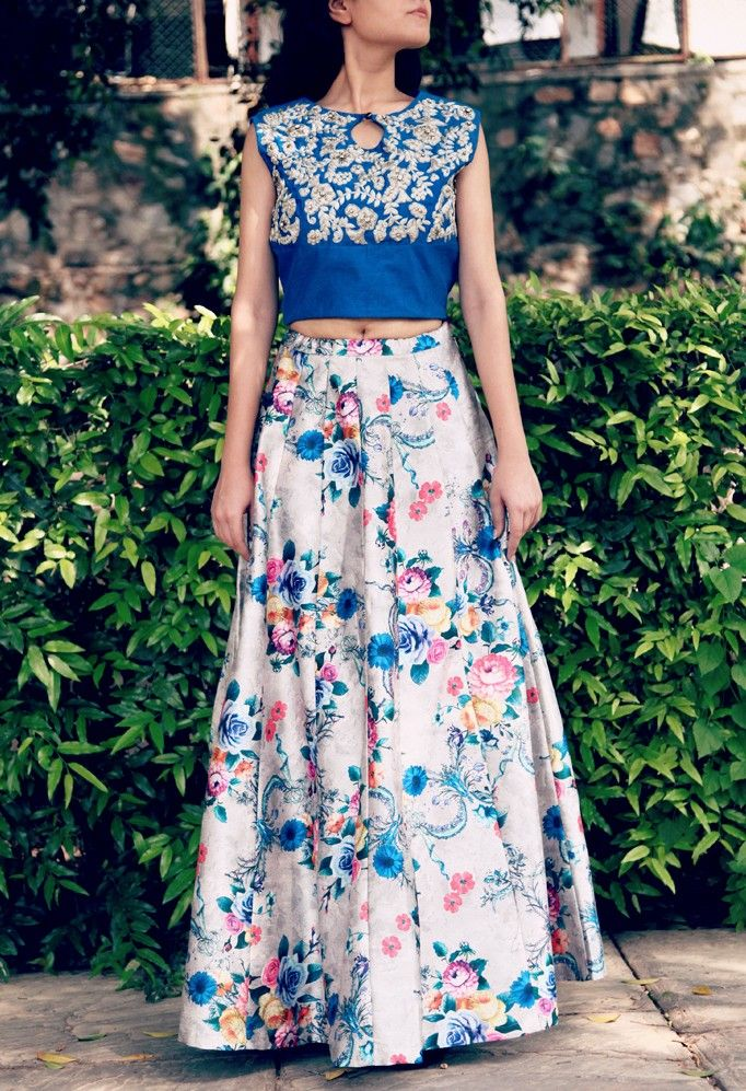 51148a2495 Azure blue crop top with silver grey floral printed skirt India Style, Blue  Crop Tops