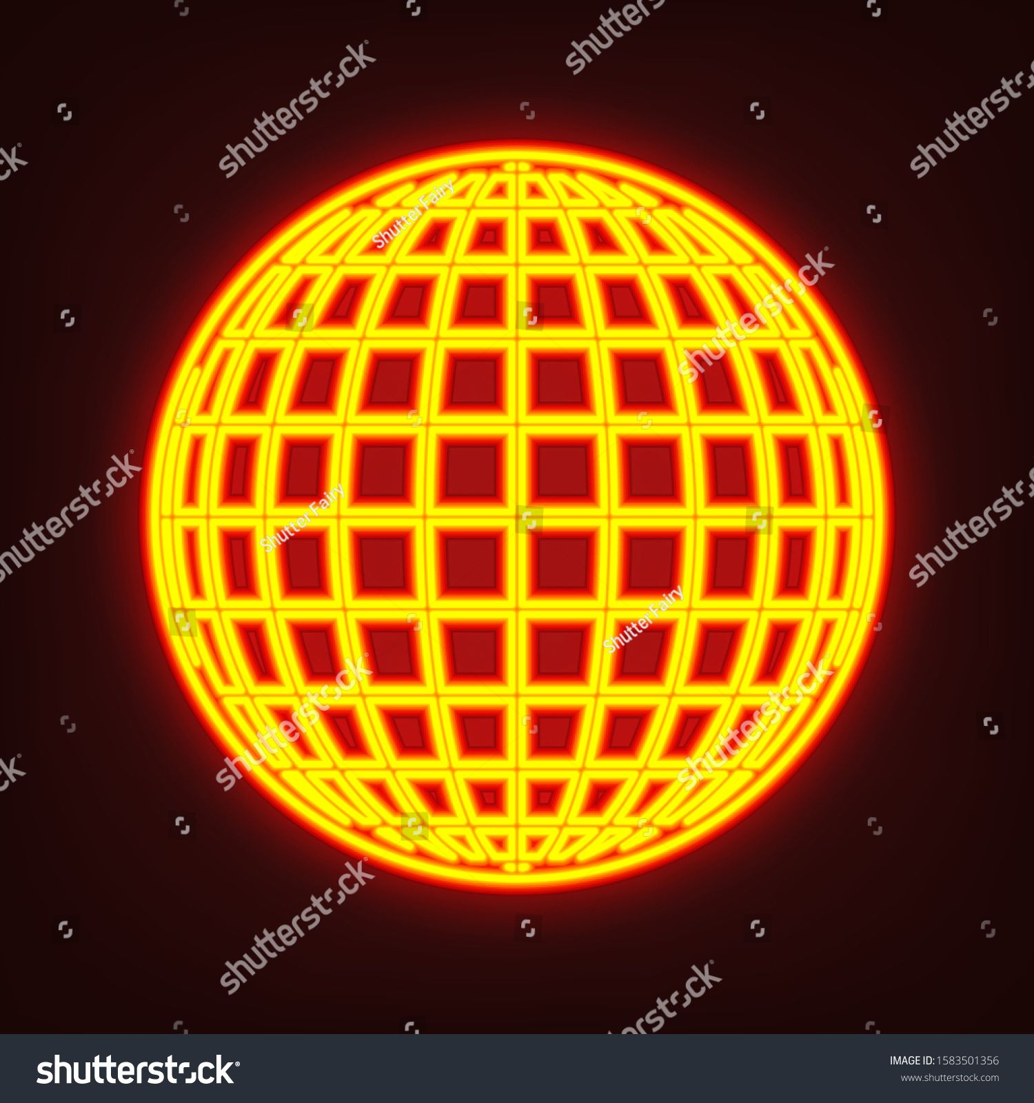 Globe Sign Illustration 11 Parallels And 11 Meridian Yellow Orange Red Neon Icon At Dark Reddish Background Illuminati In 2020 Globe Icon Illustration Icon Design