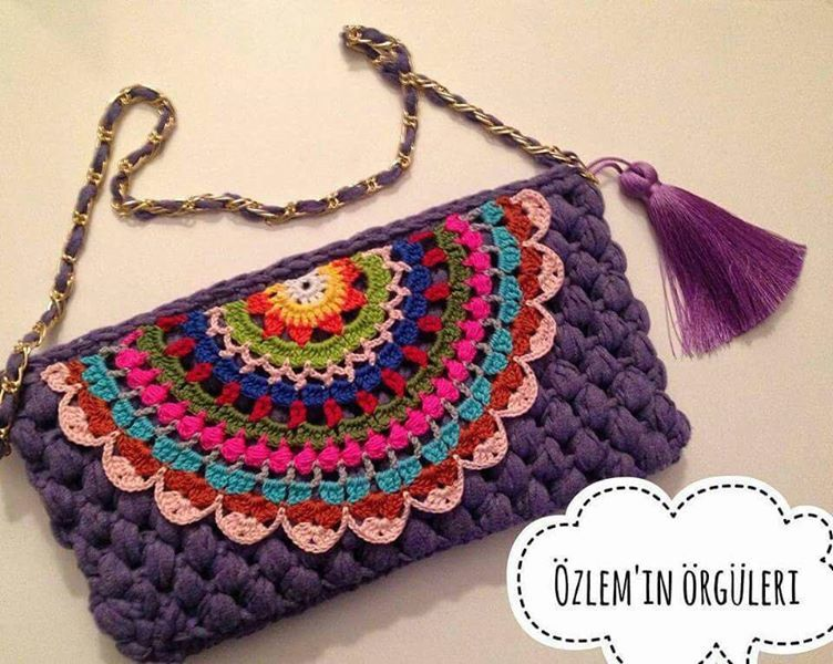 Bolso Crochet - Crochet : Uniones Motivo Cuadrado de 4 petalos