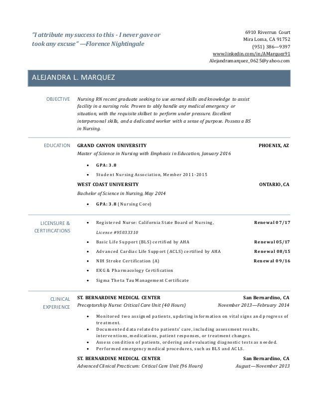 rn resume new grad