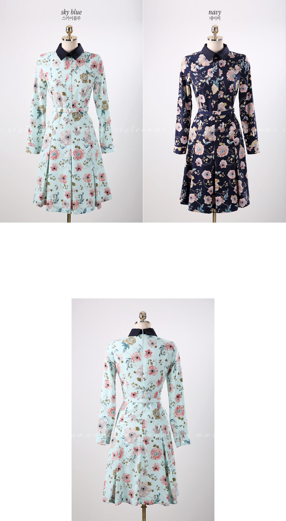 Floral print belted collared dress