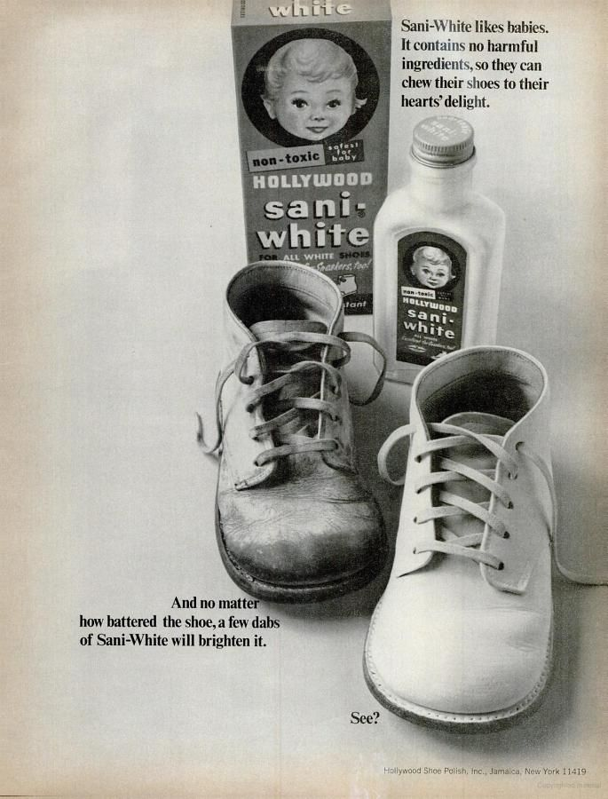 Hollywood Sani-White Shoe Polish (1966)  I used to shoe polish my oldest son's white shoes ... back in 1974, the doctors told us to have them wear those shoes until 2 years old.